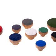 Gałki do mebli emaliowane - drewniane