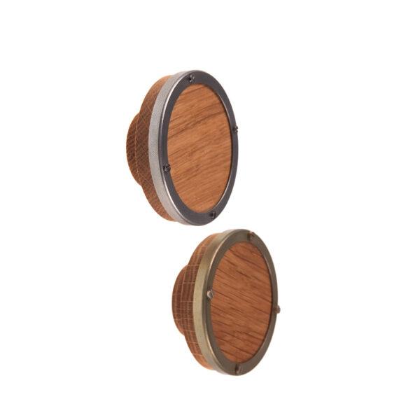 STEEL & WOOD: unikatowa dębowa gałka ze stalową ramką | DOT manufacture