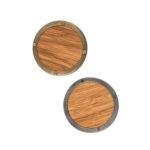 Gałki do mebli STEEL & WOOD - dąb i stal, widok od frontu | DOT manufacture