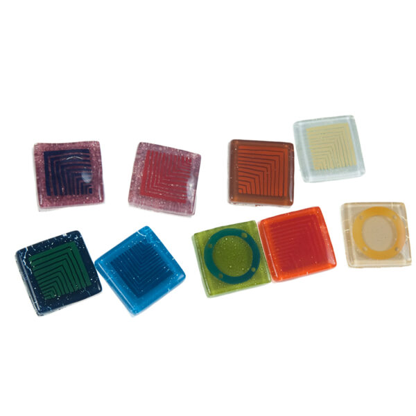 SZKLANA gałka do mebli: kwadrat o boku 3,2 cm, na stalowej nóżce. Front ozdobiony ręcznie malowanym wzorem | DOT manufacture