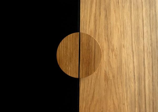 Półokrągłe drewniane uchwyty do mebli BASIC - po zamontowaniu stanowią koło