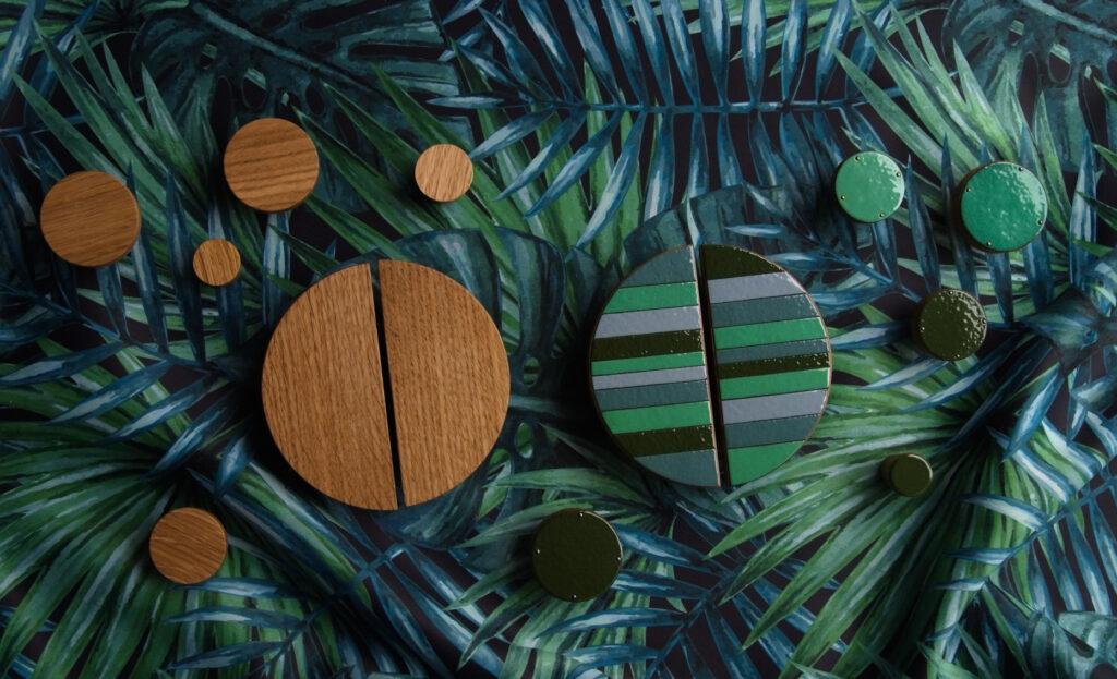 Drewniane uchwyty do mebli, zielone gałki do mebli, Jungle Style - DOT Manufacture