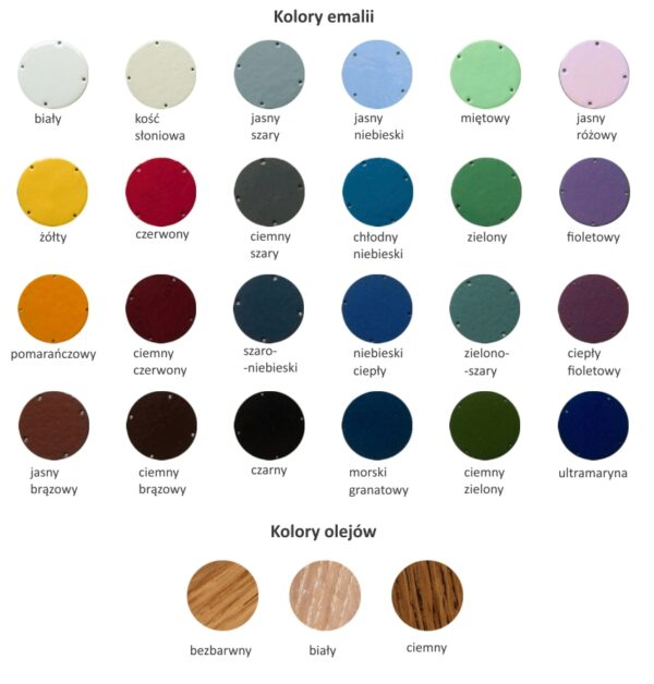 Wzornik kolorów emalii i olejów 2021